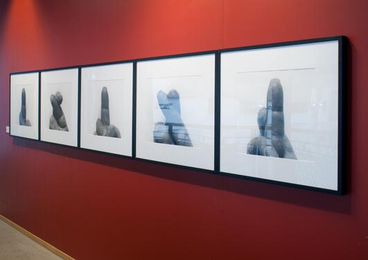 John Coplans: Self Portrait Crossed Fingers, fem bilder, 1999.
