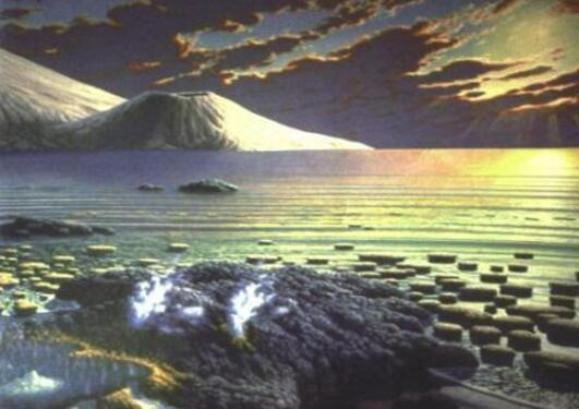 An artists reconstruction of the earth c. 3.5 billion years ago, we want to...