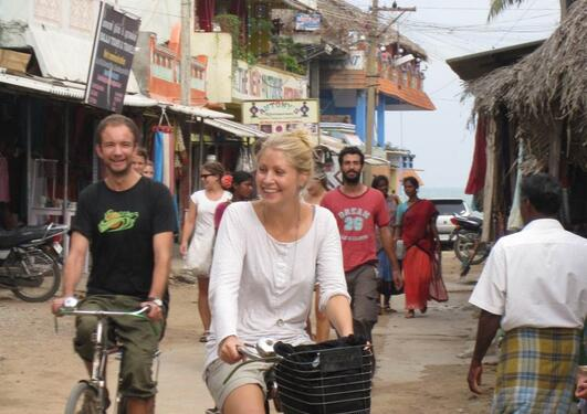 Time off at the field visit - bicycle ride in Mamalla-Puram.