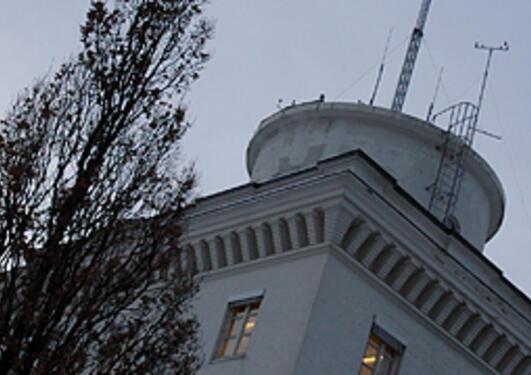 Geofysisk institutt - tårnet en vinterkveld