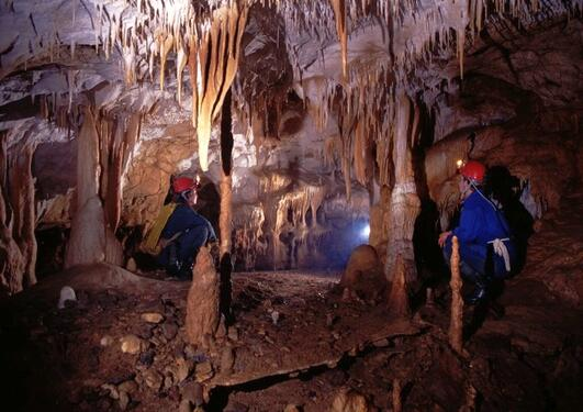 Cave in Romania with speleothems.