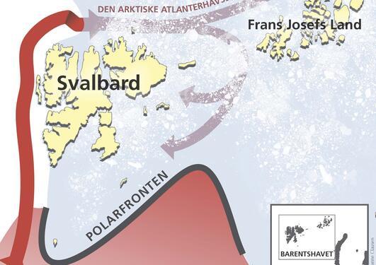 En varm dyp havstrøm kommer inn i Barentshavet fra nord. Strømmen er en gren...