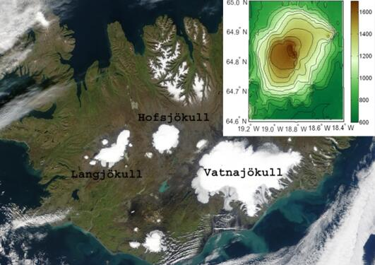 Satellite picture and topography of the Hofsjøkull area.