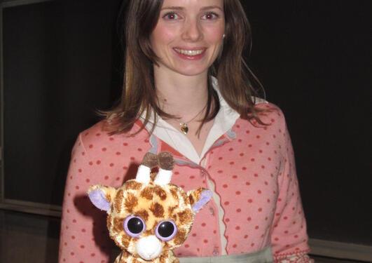 Dr. Tove Ragna Reksten with mascot Lars Vegard, happy with her recently...