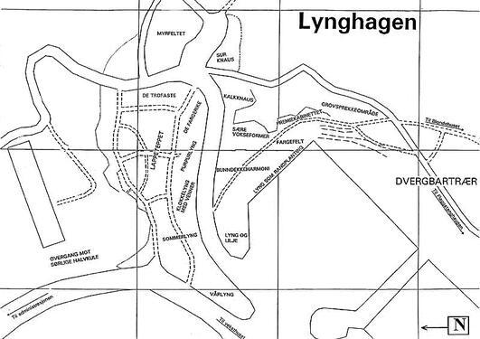 Kartet viser oversikt over de forskjellige avdelingene i lyngsamlingen.