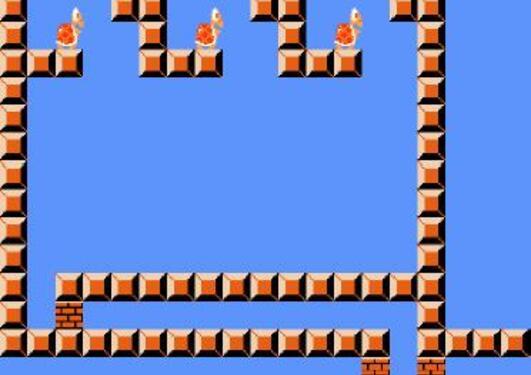 Gadget for Mario. Hva gjør du om du kommer inn en av de tre kolonnene øverst?