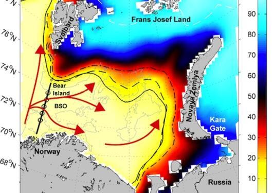 Kart av Barentshavet som viser gjennomsnittlig vinter-isdekke mellom 1979 og...