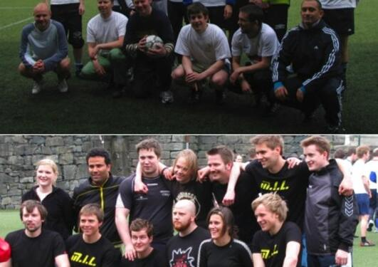 MI 60th anniversary soccer match. The employees' team (MI UTD), top, and the...