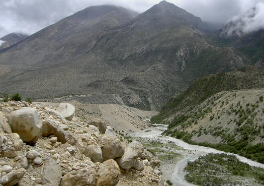 In the Kharta area, Tibet, the monsoon clouds cross the Himalaya and spread a...