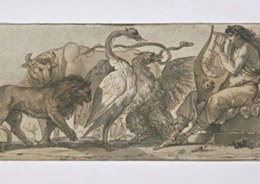 Giuseppe Cades: Orpheus Charming the Animals, 1780, Pen, ink, wash; 14.5 x 38...