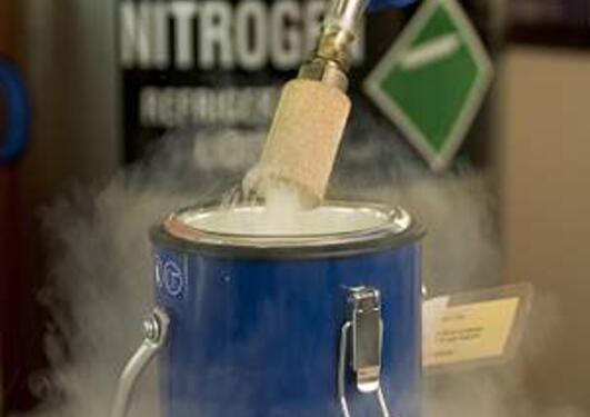 Damp av flytande nitrogen.