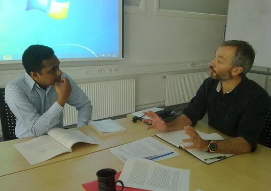Ranga Jayawickrama and Christophe Pelabon discussing during the Master...