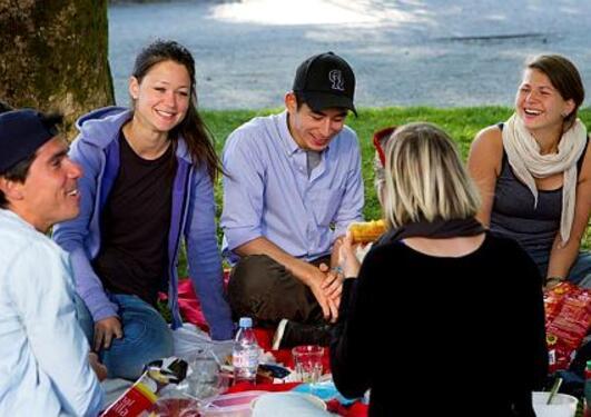 En gruppe unge mennesker er på piknic og sitter i gresset og spiser.