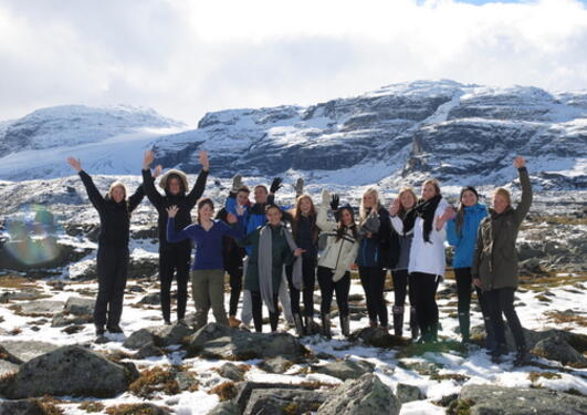 Having a field day: our group of pupils enjoy themselves in front of the...