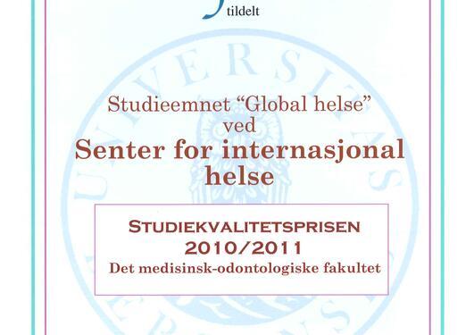 Studiekvalitetsprisen 2011 global helse