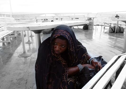 Thunder storms can build up in an hour or two. Here on a Ferry to Zanzibar.