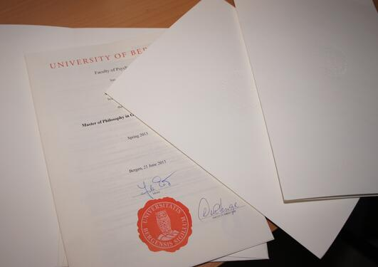 A diploma from The Faculty of Psychology.