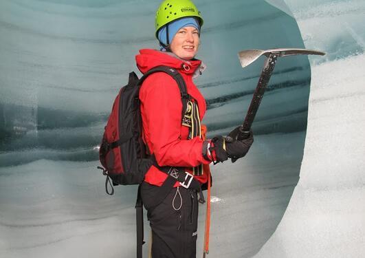 "Vivi Pedersen in Folgefonna - The Foto is used at ""Bergen Geofysiker..."